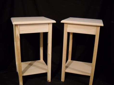 Wall Shelf Table by Set Of 2 Unfinished Wooden Table Stand End Table Wall Table W Shelf Ebay