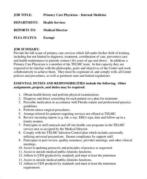 sle of description template physician assistant description template 28 images sle