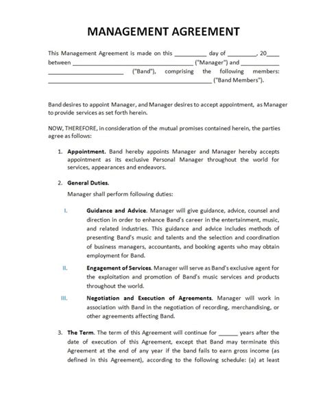 Music Managers Artist Managers Band Managers Music Autos Post Entertainment Manager Contract Template