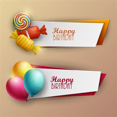 happy birthday banner design vector free download sweet with birthday banner vector free vector in