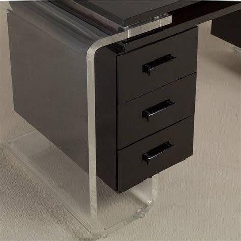 Clear Vanity Table Large Black And Clear Lucite Vanity Table Or Desk 1980s For Sale At 1stdibs
