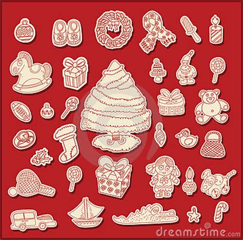 christmas themed drawing line drawing christmas theme objects royalty free stock