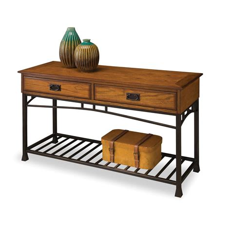 home styles furniture modern craftsman oak console sofa