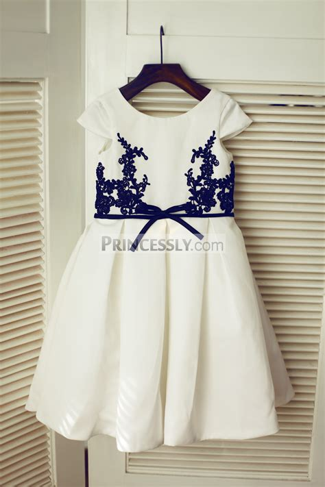 Dress Navy Flower With Belt cap sleeves navy blue lace ivory satin flower dress with sash avivaly