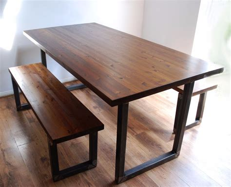 Dining Table Set With Bench Industrial Vintage Rustic Dining Kitchen Table Bench Set Solid Wood Steel Ebay