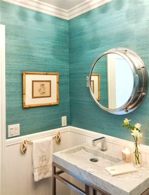Turquoise Infused Coronado Beach Cottage Turquoise Beachy Bathroom Mirrors