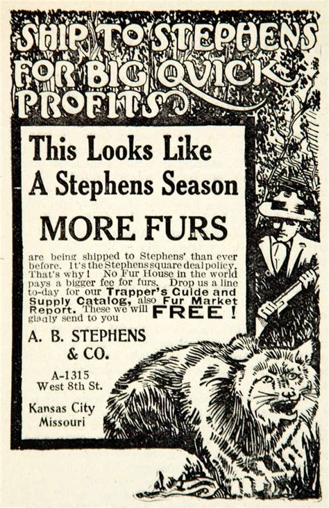 Cabin Ideas 1912 Black And White Print Ad For A Fur Trapping Market