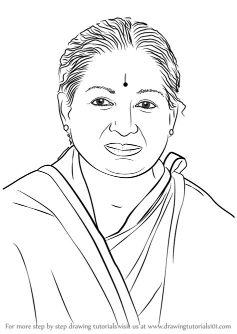 Learn How to Draw Jayalalithaa (Politicians) Step by Step