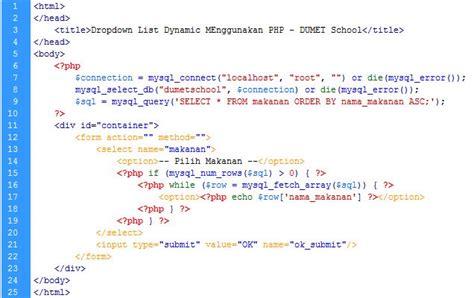script php untuk membuat menu dropdown membuat dropdown list menggunakan php dan mysql