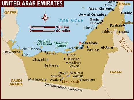 arab emirates map map of united arab emirates