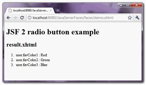 tutorial java radio button jsf 2 radio buttons exle mkyong com