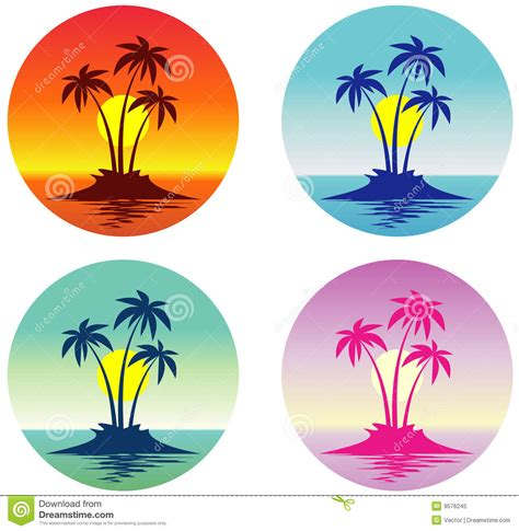 Tropical Island Plants - tropical island vector royalty free stock photo image 9576245