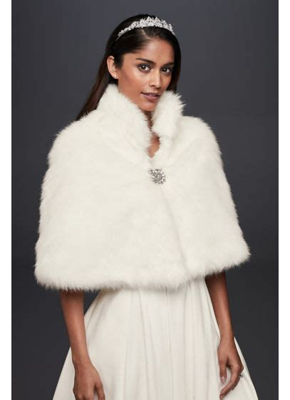 Buy This Look Bilsons Capelet by Faux Fur Capelet With Jeweled Brooch David S Bridal