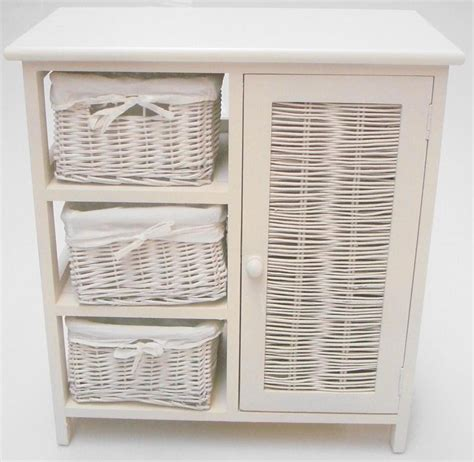 White Wicker Storage Drawers by Shabby Chic White Wicker 3 Chest Of Drawer Basket Cupboard