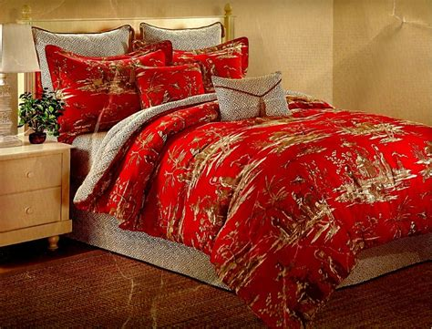 dynasty cotton asian toile reversible comforter set k g