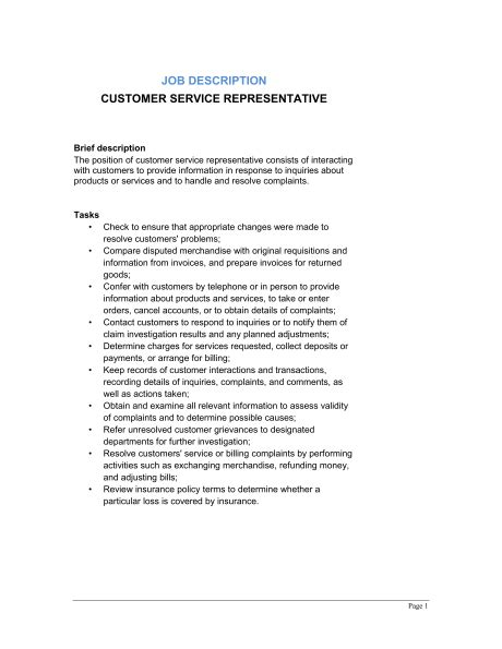 customer service associate job description resume skills on