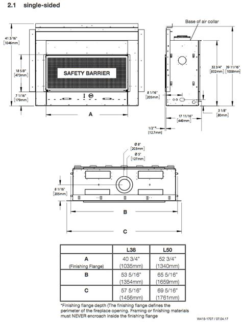 Gas Fireplace Specs by Napoleon Acies L38 Single Sided Direct Vent Gas Fireplace