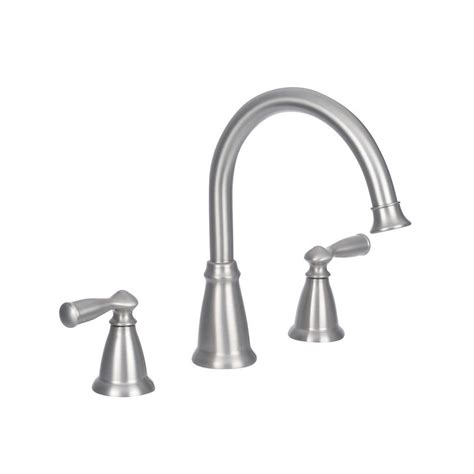 moen brushed nickel kitchen faucet moen banbury 2 handle deck mount high arc tub faucet