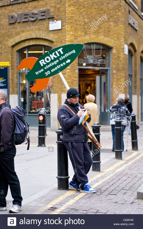 covent garden sandwich with advert for rokit vintage