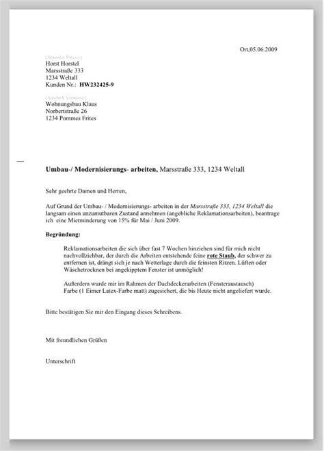 Antrag Mietminderung Vorlage Antrag Auf Mietminderung Muster