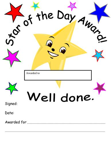 printable star of the day certificates star of the day award by lou73102002 teaching resources