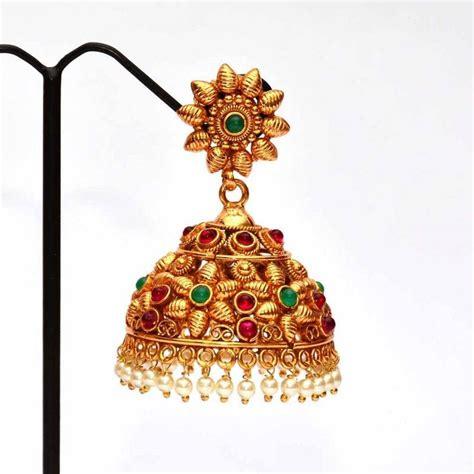 flower design jhumkas buy anvi s floral design kempu jhumkas with emerald and