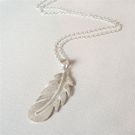 sterling silver feather necklace by