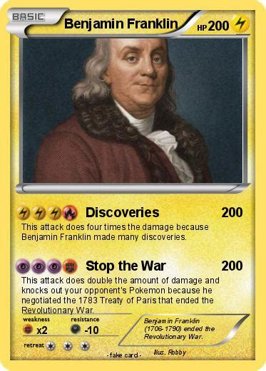Revolutionary War Trading Cards Template by Pok 233 Mon Benjamin Franklin 69 69 Discoveries My