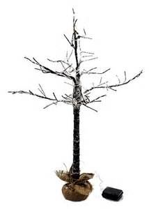timer led lighted bare branch twig tree w snow burlap base