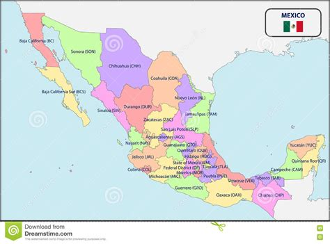 political map mexico political map of mexico with names stock vector