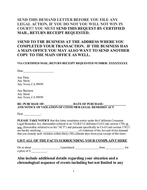 Demand Letter Vs Lawsuit Free Sle Demand Letter Consumer Remedies Act For Calif