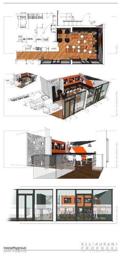 sketchup layout architectural drawings pizza joint 3d illustrations sketchup