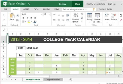 college year calendar template for excel
