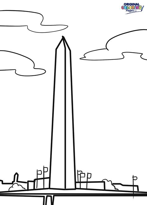 washington monument coloring book outline coloring pages