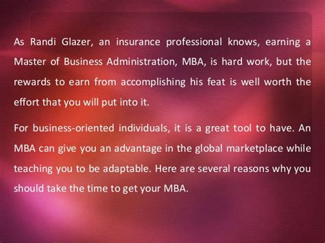 Is An Mba Worth It Form A Small School by Randi Glazer Why You Should Get An Mba