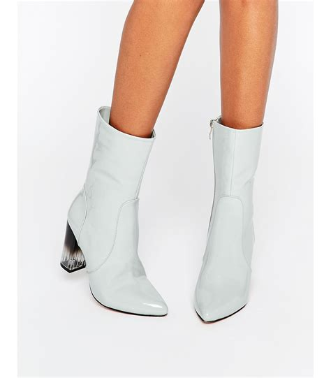 lost ink geneva gray high cut clear heel ankle boots in