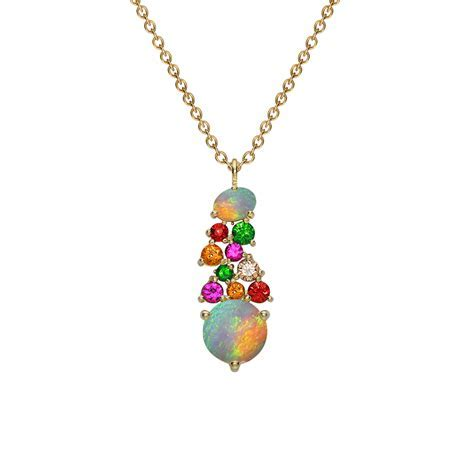 Modern Yellow Gold Multi Gem Harlequin Pendant Necklace