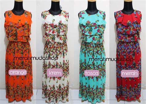 Dress Flower Brokat Murah baju dress chiffon layer toko grosir dan ecer jilbab