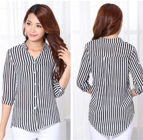 Whiting Dress Putih Fashion Casual Bagus Murah kemeja motif garis hitam putih 2015 bagus my fashion
