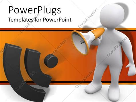 Powerpoint Template White 3d Figure Speaking Through Bullhorn Making Announcement With Sound Powerpoint Announcement Templates