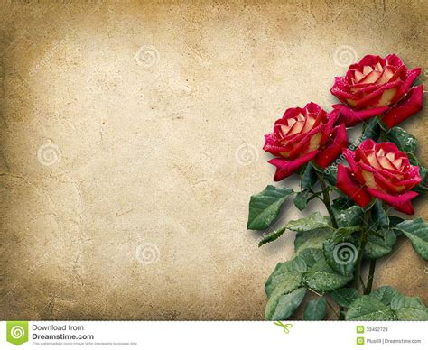 imagenes vintage rojas tarjeta del vintage para la enhorabuena con tres rosas