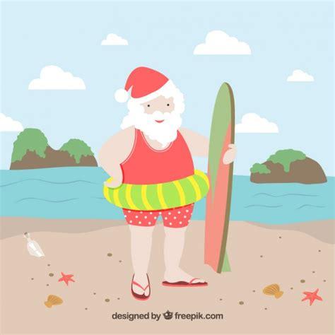 imagenes de santa claus en la playa santa claus en la playa descargar vectores gratis