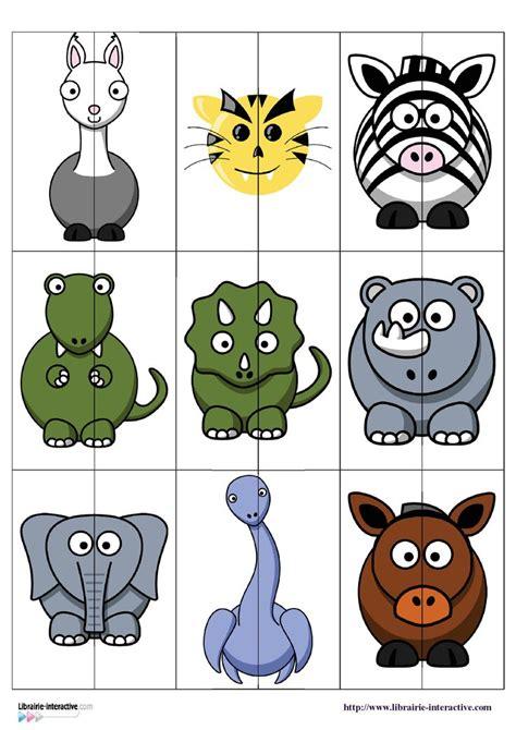 printable animal puzzle un jeu puzzles 224 deux pi 232 ces 224 plastifier pour associer