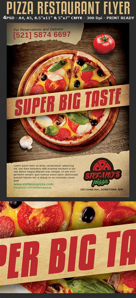 pizza restaurant advertising flyer template flyerstemplates