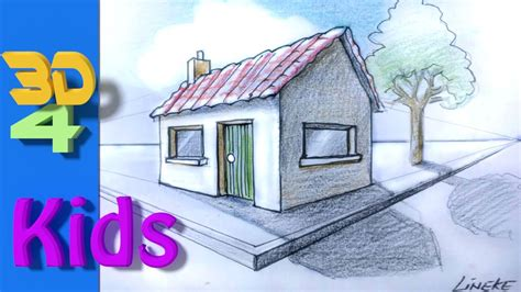 3d house drawing easy 3d drawing draw house 2 point perspective for kids