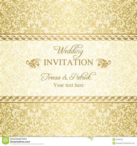 wedding invitation background designs gold baroque wedding invitation gold stock vector
