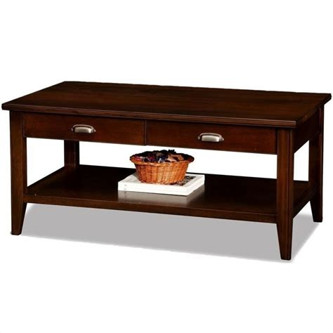 Leick Laurent Two Drawer Solid Wood Coffee Table In Chocolate Coffee Table