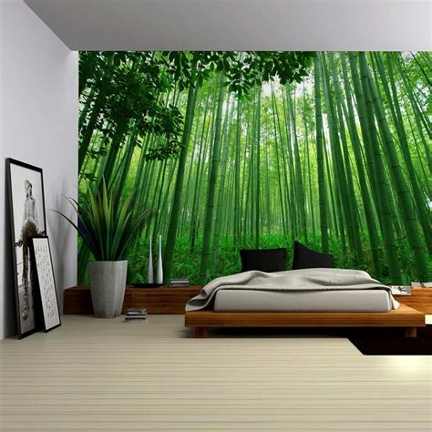 Bamboo Mural Walls - up view into a green bamboo forest wall mural