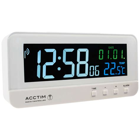 acctim radio controlled lcd alarm clock white at lewis