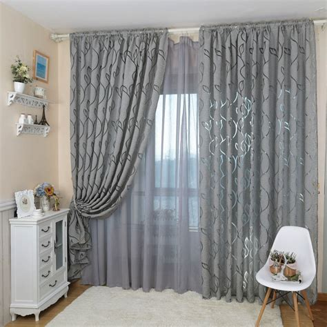 Curtain Decoration Inspiration Fascinating Modern Decorative Jacquard Gray Window Curtain Picture Of Bedroom Inspiration And